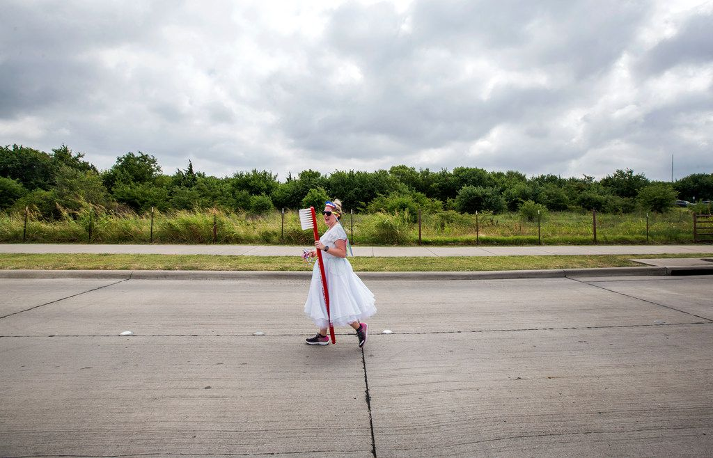 Lora Williamson of Royse City dressed up as a tooth fairy for the Fourth of July parade in Rockwall.