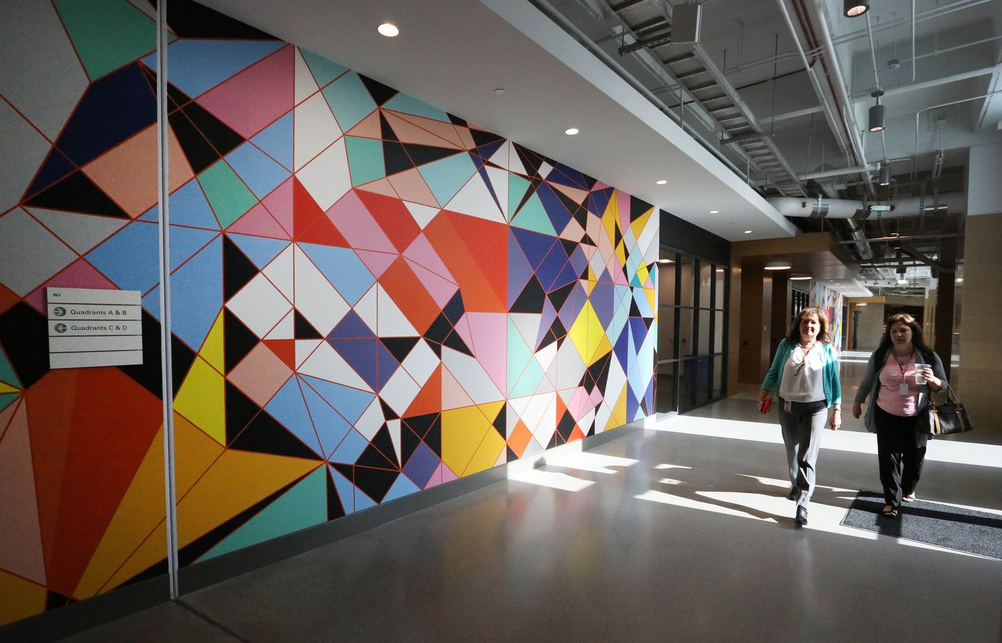 Colorful artwork decorates the walls of the Toyota headquarters.