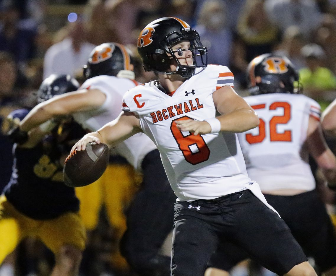 Rockwall High School quarterback Braedyn Locke (8) throws a pass during the first half as Highland Park High School hosted Rockwall High School at Highlander Stadium in Dallas on, Friday, September 17, 2021. (Stewart F. House/Special Contributor)