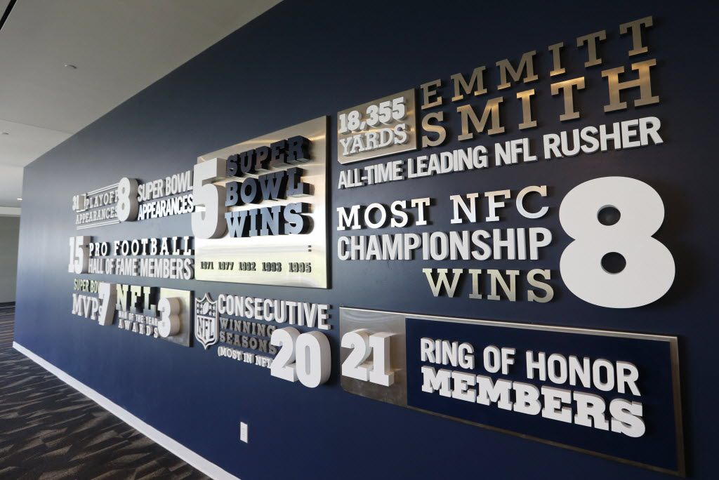 Dallas Cowboys wall displaying various accomplishments at the Dallas Cowboys new headquarters at The Star in Frisco on Sunday, August 21, 2016. The Star, is a joint project with the City of Frisco, and Frisco ISD. (Vernon Bryant/The Dallas Morning News)