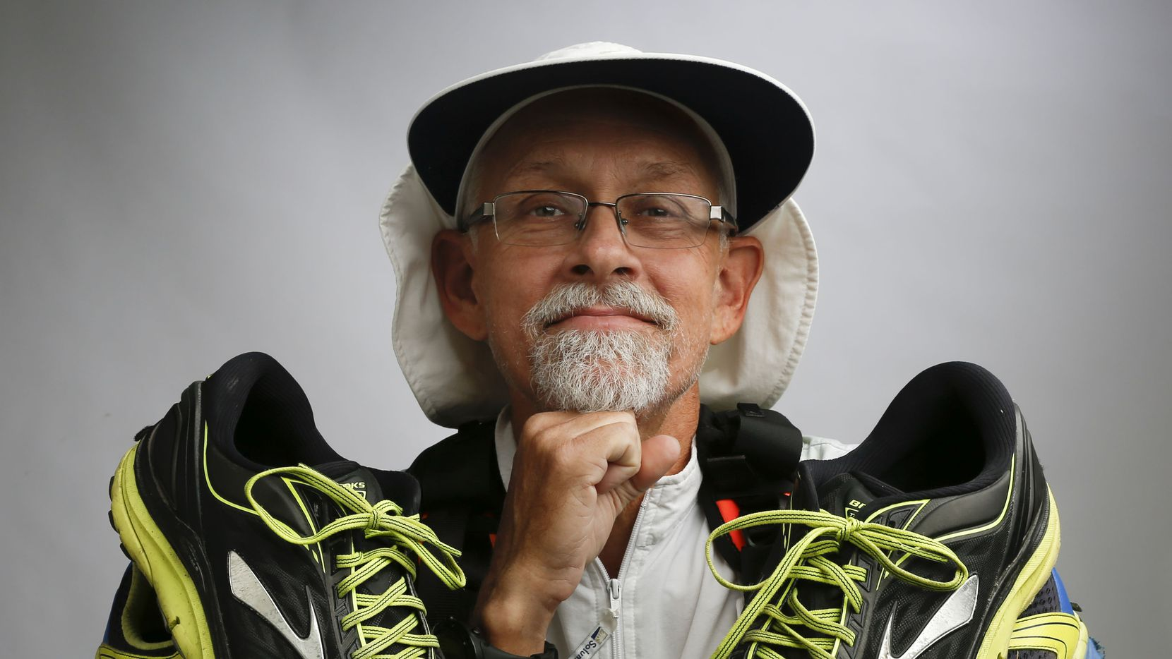 Don Muchow, of Plano, used multiple pairs of shoes to complete the 8th Annual Capital to Coast Relay earlier this month. He ran the The 223 mile relay, by himself and has Type 1 diabetes. Photos taken in the DMN photo studio Friday, November 3, 2017.