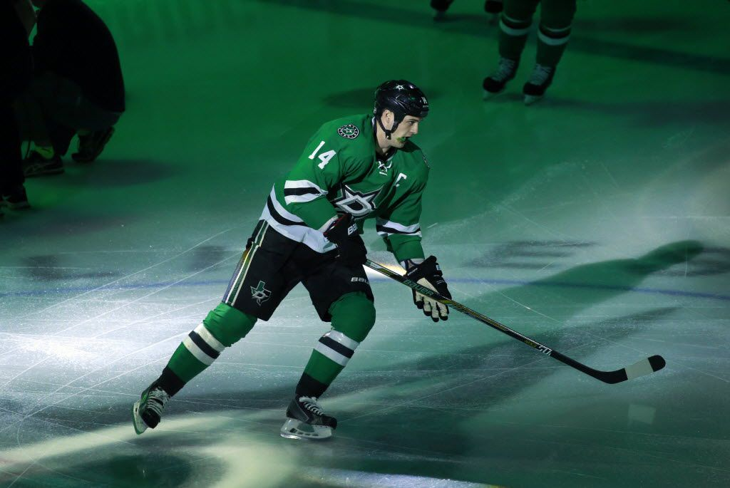 Dallas Stars left wing Jamie Benn (14) takes the ice to face the St. Louis Blues before Game 7 of the Western Conference semifinals at the American Airlines Center in Dallas, Wednesday, May 11, 2016.  (Tom Fox/The Dallas Morning News)