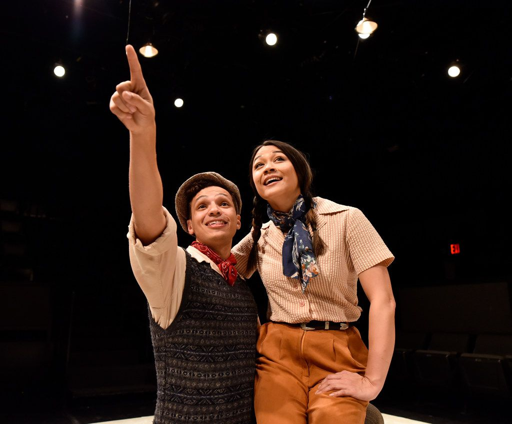 Rashaun Sibley plays Kid, who dreams of making movies, and Olivia de Guzman plays a newcomer named Trixie in The Last One Nighter on the Death Trail Starring the Disappointment Players,  the Theatre Three revival of an original ensemble-driven show written by David Goodwin and Christie Vela.
