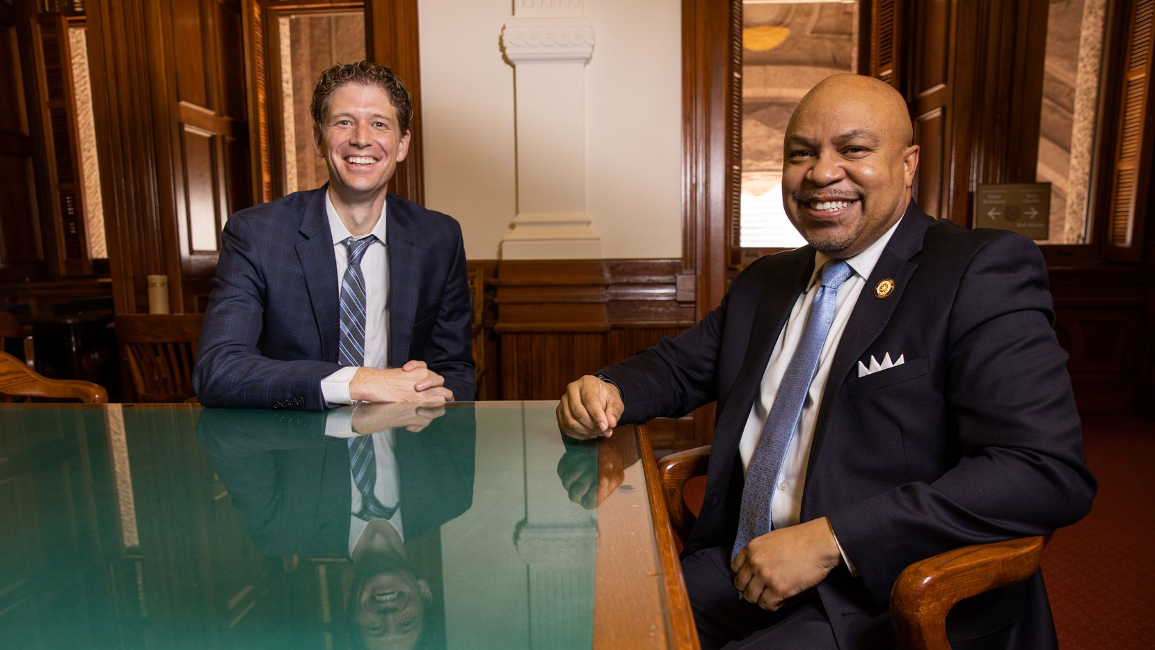 (From left) Rep. Matt Krause (R-Ft.Worth) and Carl Sherman (D-Desoto) pose for a photo at the Texas Capitol in Austin on Tuesday, March 16, 2021. (Juan Figueroa/ The Dallas Morning News)