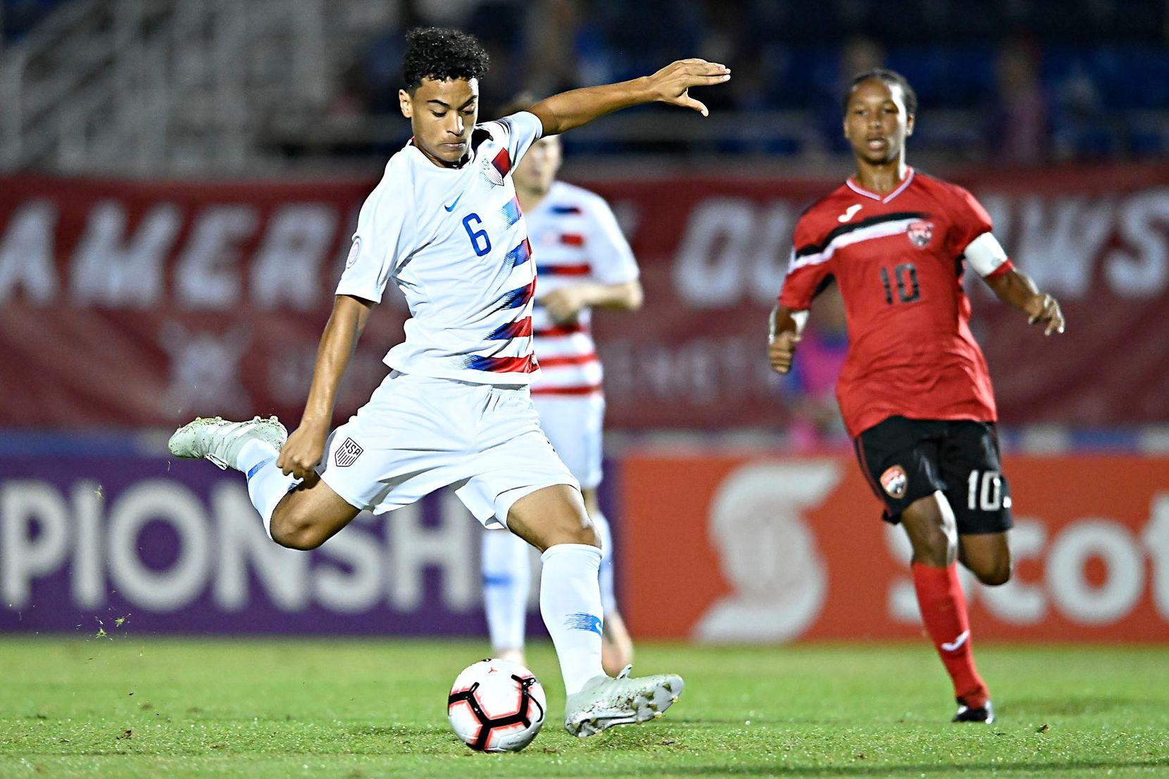 Brandon Servania of FC Dallas playing in the 2018 Concacaf U20 Championship against Trinidad and Tobago