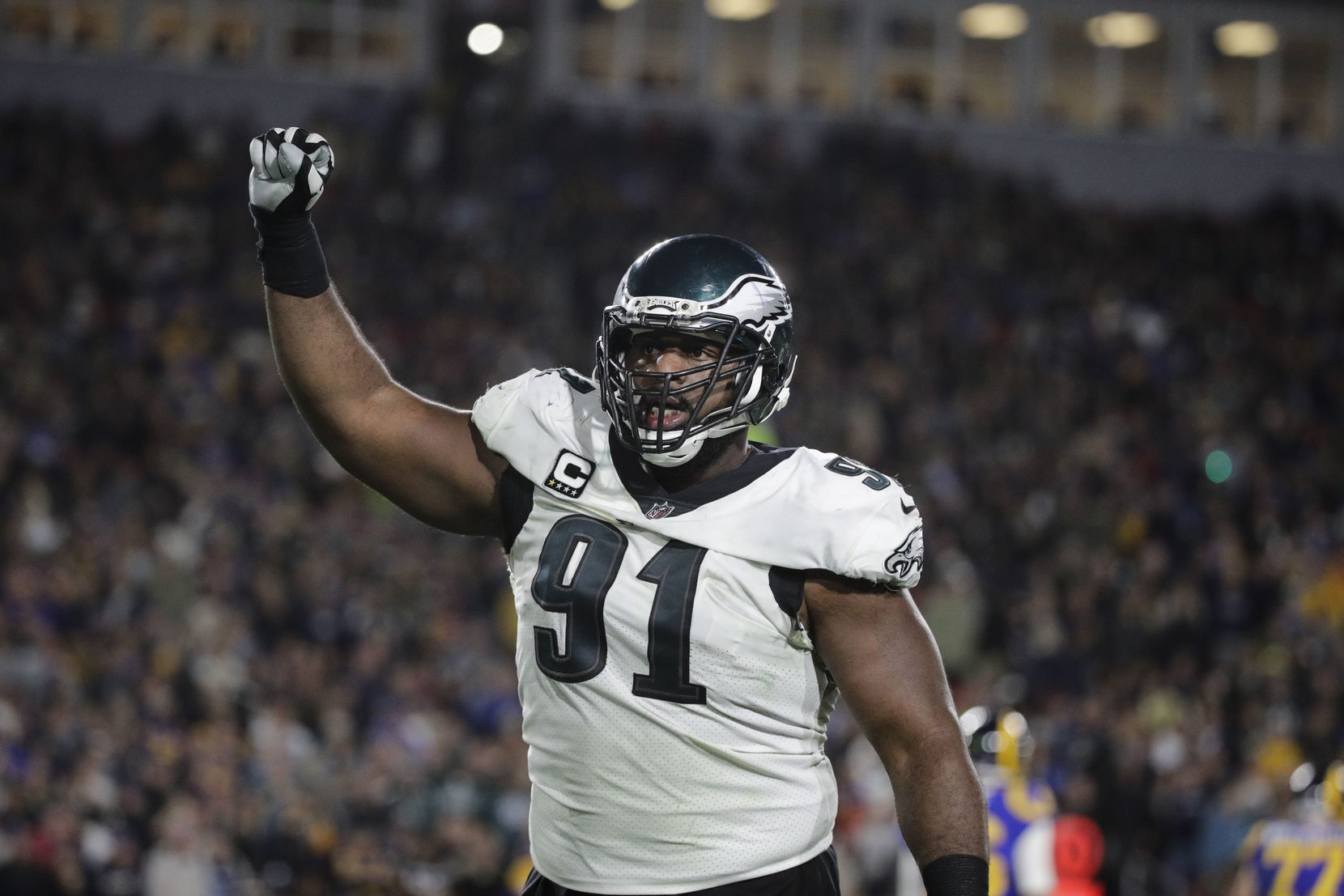 Philadelphia Eagles' Fletcher Cox reacts to a play during an NFL football game against the Los Angeles Rams Sunday, Dec. 16, 2018, in Los Angeles . (AP Photo/Jae C. Hong)