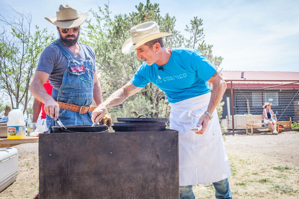 Chef Lou Lambert (right) teaches a camp cooking culinary weekend at El Cosmico in Marfa.