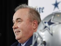 Dallas Cowboys new head coach Mike McCarthy speaks during a press conference announcing his position in the Ford Center at The Star in Frisco, on Wednesday, January 8, 2020.