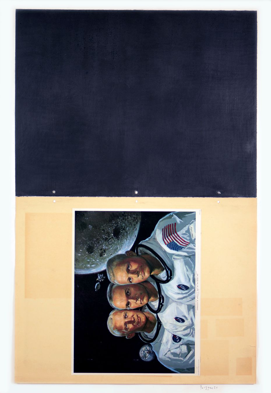 """Bogdan Perzynski's """"Surface Drawing #29"""" features the crew of Apollo 11."""