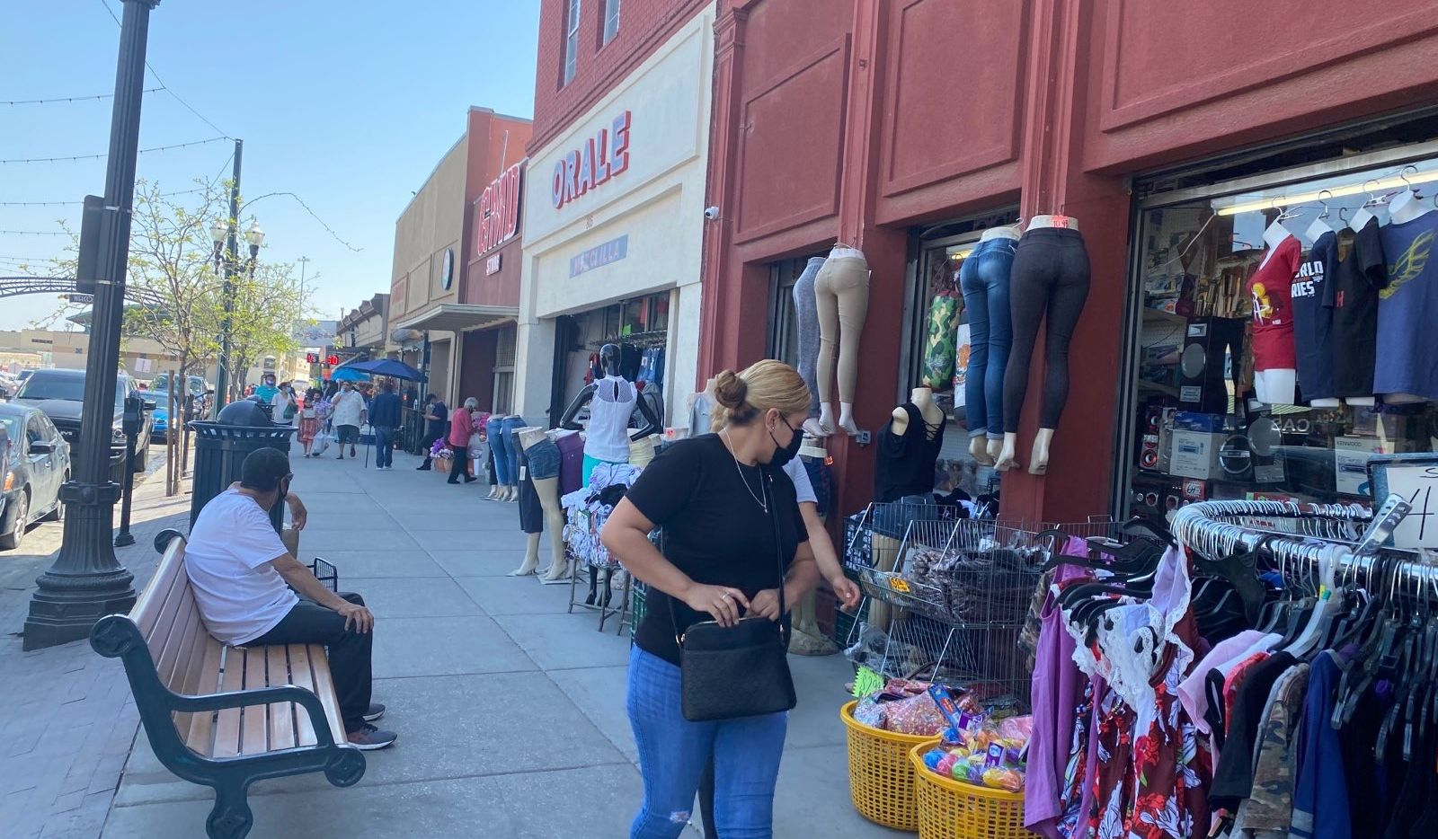 Fewer shoppers are on the street in the shopping district just across from El Paso in Ciudad Juarez, Mexico, seen here in early April.