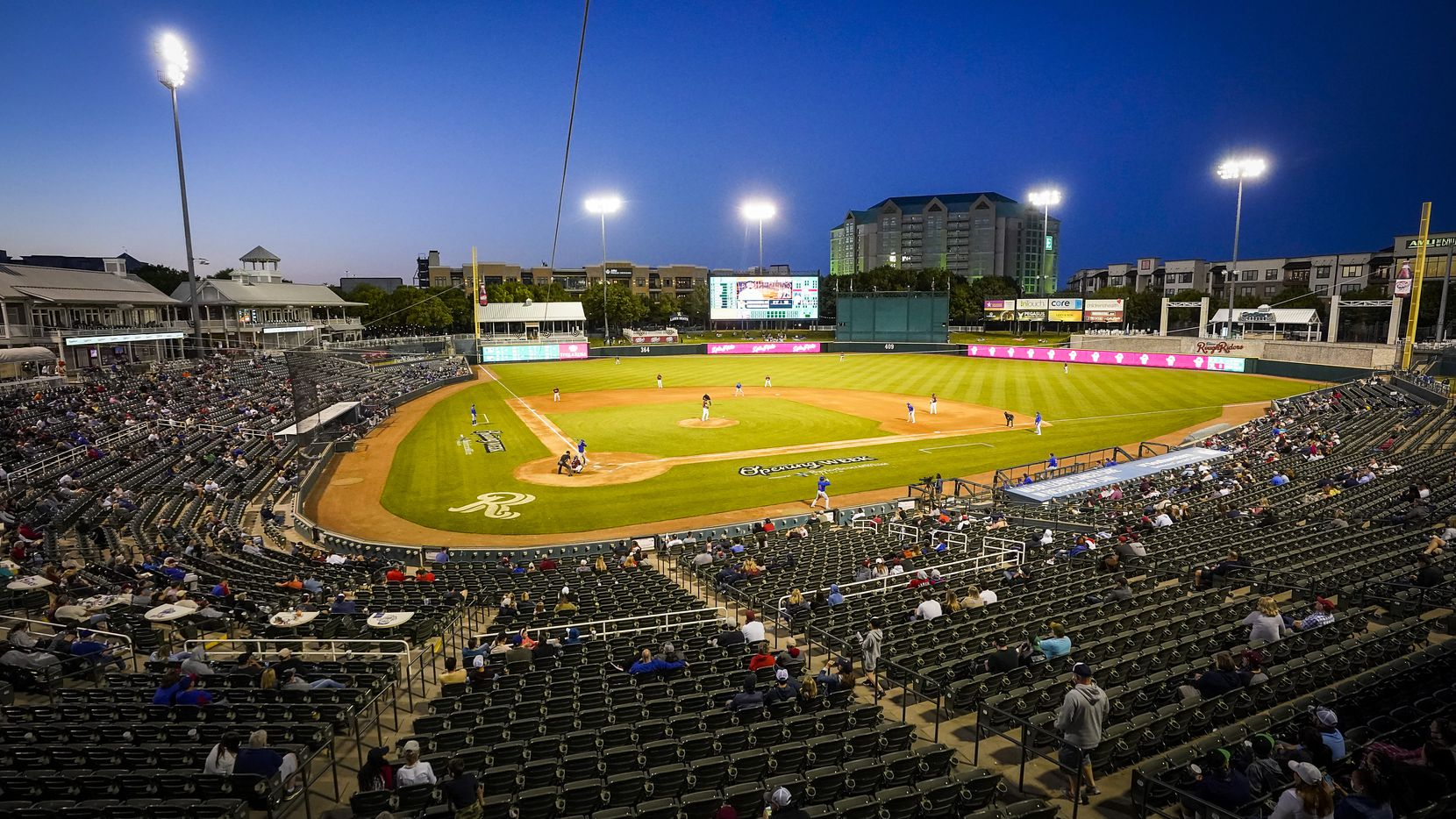 The Frisco RoughRiders face the Midland RockHounds during the season opener at Riders Field on Tuesday, May 4, 2021.