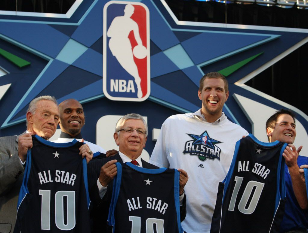 Announcement of 2010 NBA All-Star Game to be held at the new Dallas Cowboys Stadium in Arlington. Attended by Dallas Cowboys owner Jerry Jones, Mavericks player Jerry Stackhouse, NBA Commissioner David Stern, Dallas player Dirk Nowitzki and Dallas Mavericks owner Mark Cuban.