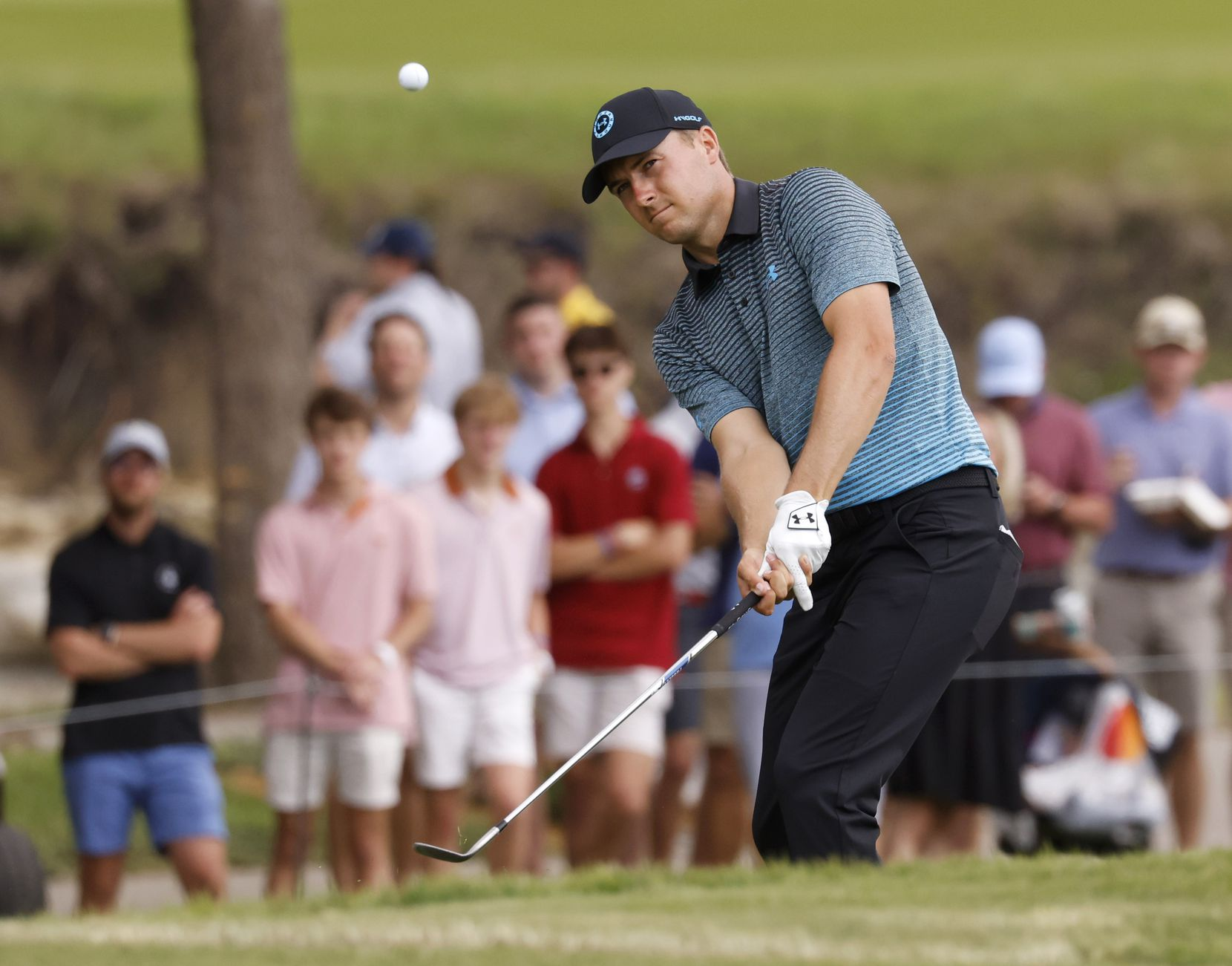 Jordan Spieth watches his ball on the 14th hole during round 3 of the AT&T Byron Nelson  at TPC Craig Ranch on Saturday, May 15, 2021 in McKinney, Texas. (Vernon Bryant/The Dallas Morning News)