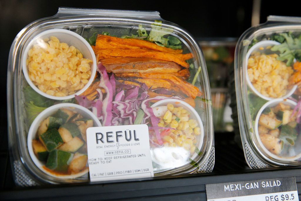Mexi-Gan Salad in one of the many refrigerators at Reful (Real Energy Foods U Love) in Dallas on Monday, July 23, 2018. (Vernon Bryant/The Dallas Morning News)