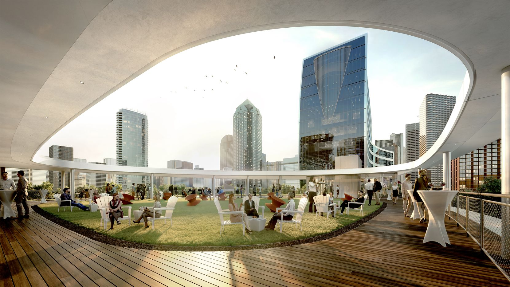 A rendering of the rooftop deck of a pavilion planned to be included in the expansion of Klyde Warren Park.