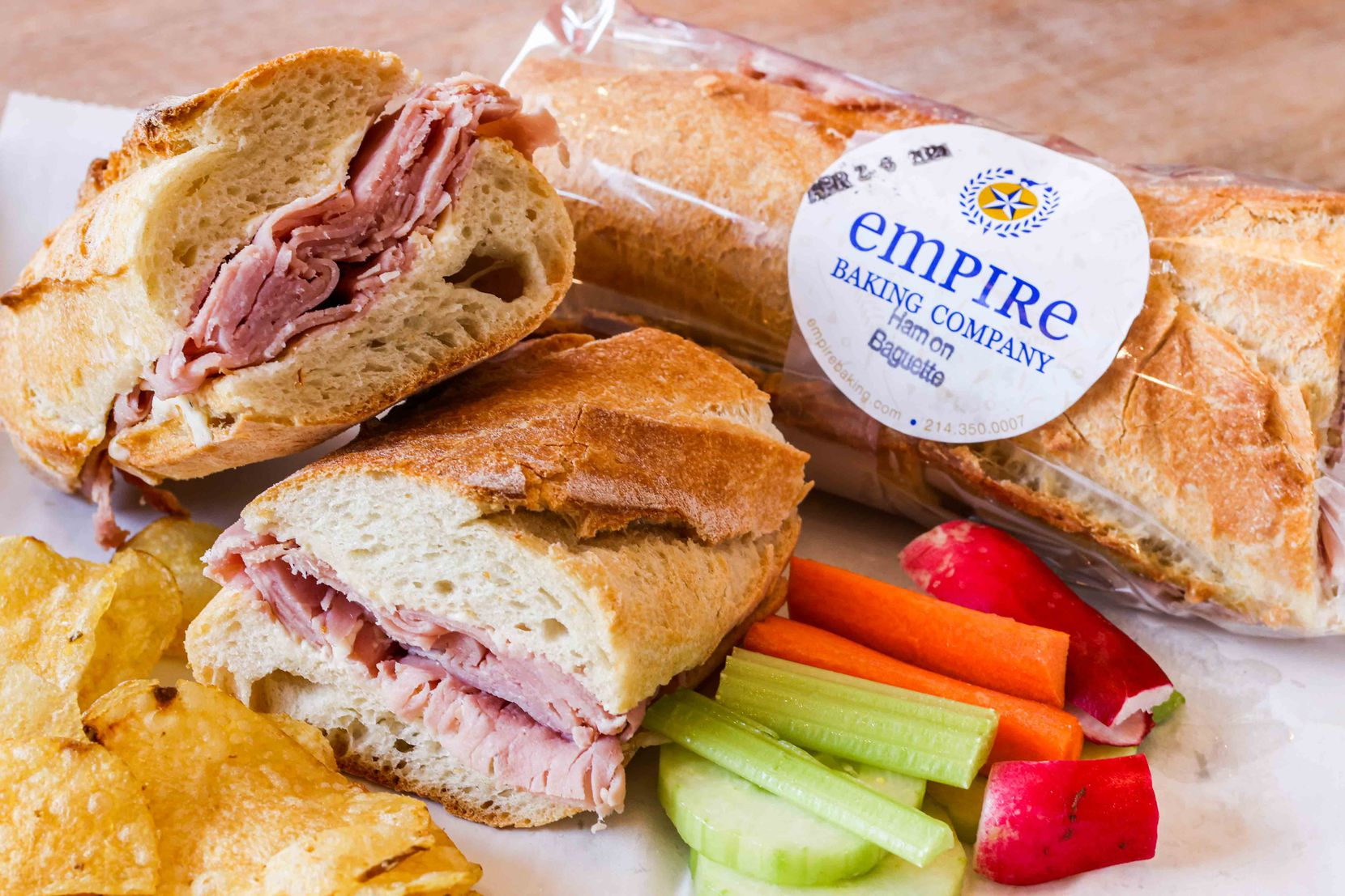 Ham on baguette is one of the most popular sandwiches at Empire Baking Company.