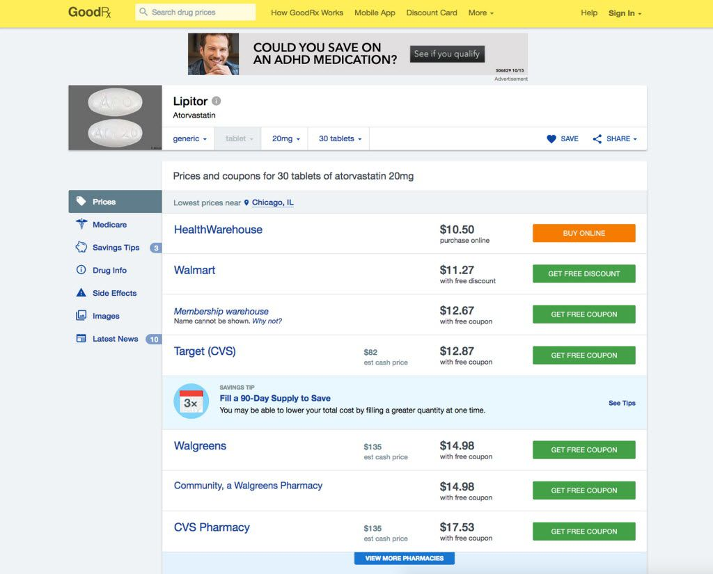 This photo provided by GoodRx shows a screen grab of the GoodRx prescription page. More than a dozen websites and apps are vying to help U.S. consumers find the lowest prices for prescription drugs by comparing prices and searching for deals, similar to the way Expedia looks for cheap airfare or Bankrate.com looks for low mortgage rates. (GoodRx via AP) MANDATORY CREDIT