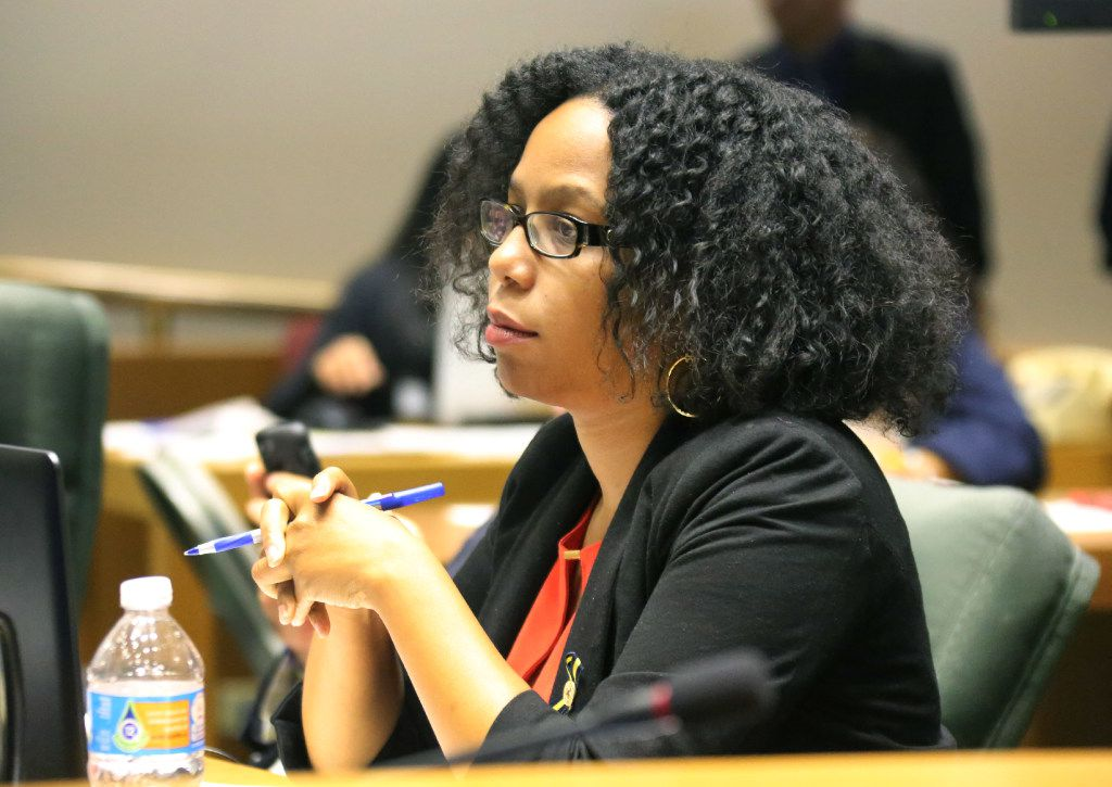 Former Dallas City Council member Tiffinni Young is pictured during a council session in September 2016.