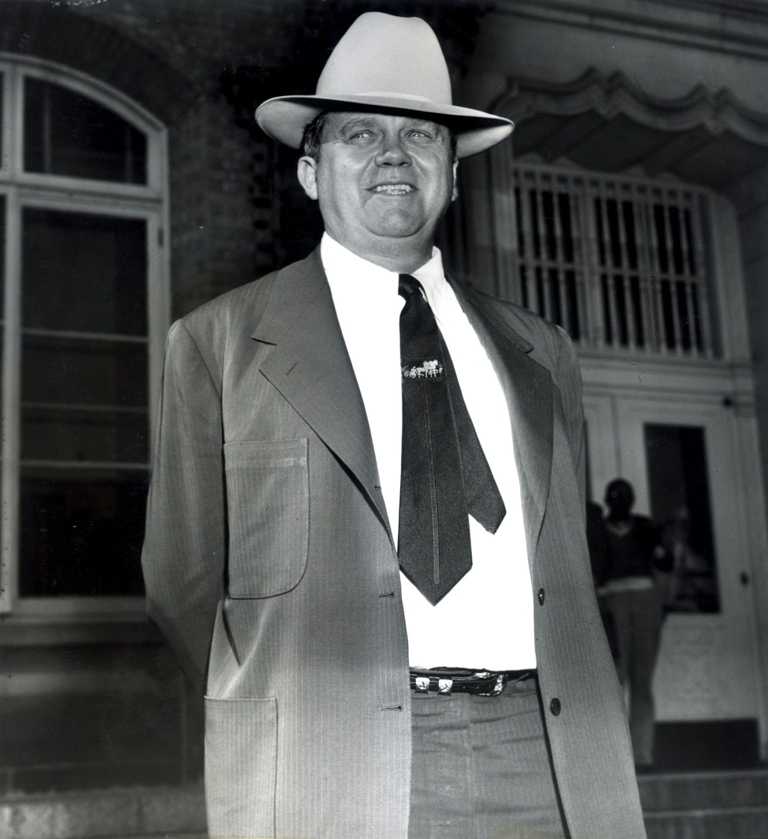 Benny Binion, who shifted his operations from Dallas to Las Vegas in the late '40s, was pictured on the steps of the federal courthouse in Waco in 1953.