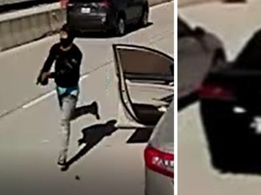 Dallas police released these images of a gunman and a suspect vehicle.