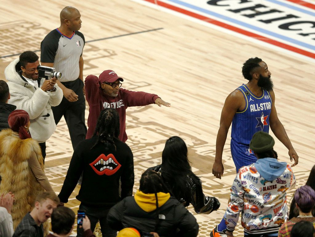 Team LeBron's James Harden (2) is heckled by Spike Lee after he was called for a charging foul on Team Giannis' Kyle Lowry (24) during the second half of play in the NBA All-Star 2020 game at United Center in Chicago on Sunday, February 16, 2020. Team LeBron defeated Team Giannis 157-155. (Vernon Bryant/The Dallas Morning News)