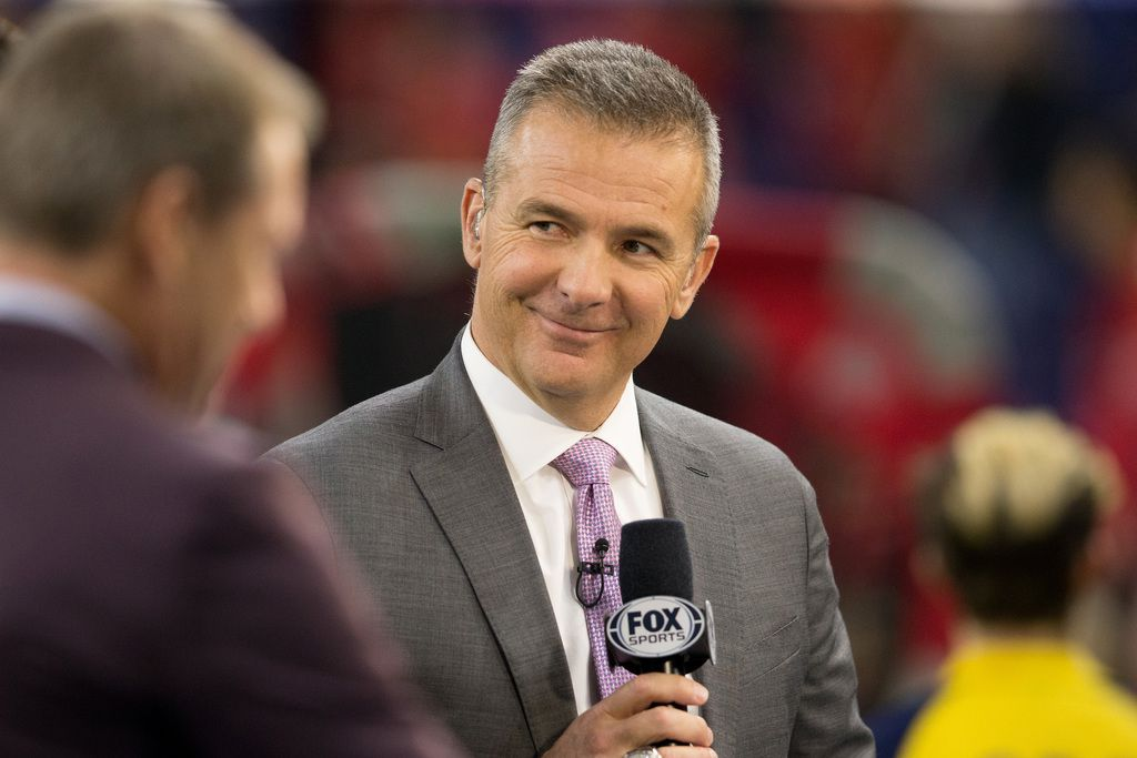 INDIANAPOLIS, INDIANA - DECEMBER 07: Fox Sports analyst Urban Meyer at the Big Ten Championship game between the Ohio State Buckeyes and Wisconsin Badgers at Lucas Oil Stadium on December 07, 2019 in Indianapolis, Indiana.