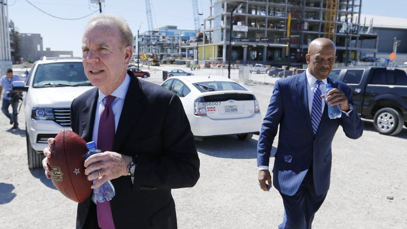 Former Dallas Cowboys Roger Staubach and Drew Pearson walk back to the tent after giving an interview to the media after a press conference announcing the retail aspect at the Dallas Cowboys new headquarters at The Star in Frisco, on Wednesday, May 4, 2016. The Star a joint project with the City of Frisco is scheduled to open in August.