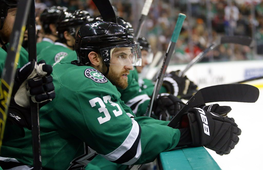 Dallas Stars defenseman Alex Goligoski (33) is seen on the bench during the Detroit Red Wings game in the second period at the American Airlines Center in Dallas, Saturday, February 21, 2015.  (Tom Fox/The Dallas Morning News)