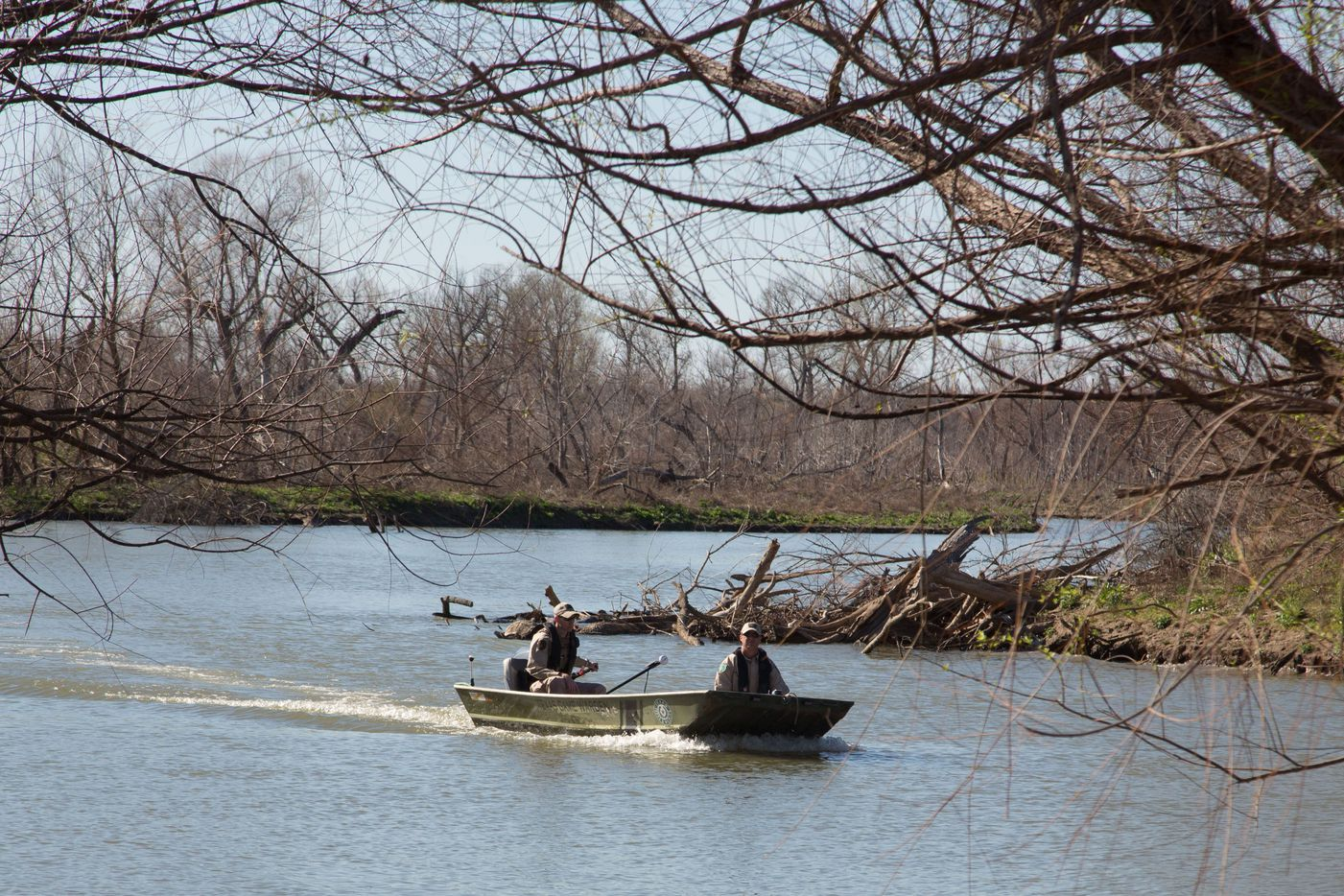 Texas game wardens searched for Matthew Meinert at Trophy Club Park on Tuesday. (Jeff Woo/Denton Record-Chronicle)