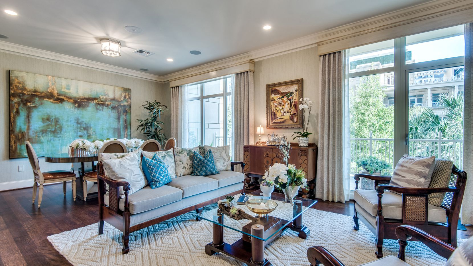 The home at 2555 N. Pearl St., unit 202, within The Residences at The Ritz-Carlton, Dallas, will sell to the highest bidder during an auction taking place June 23 to 25.