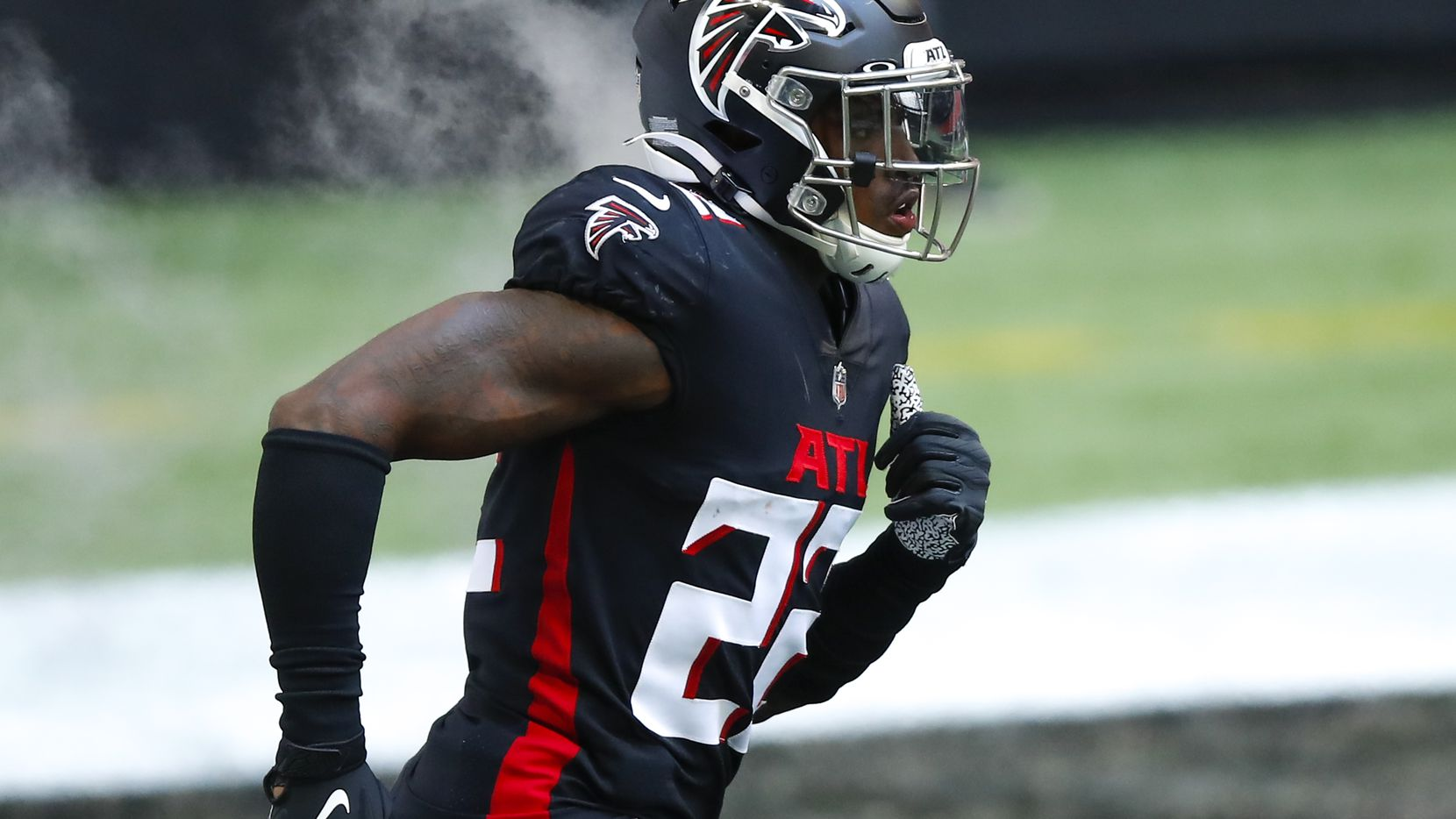 Keanu Neal #22 of the Atlanta Falcons is introduced prior to an NFL game against the Chicago Bears at Mercedes-Benz Stadium on September 27, 2020 in Atlanta, Georgia.