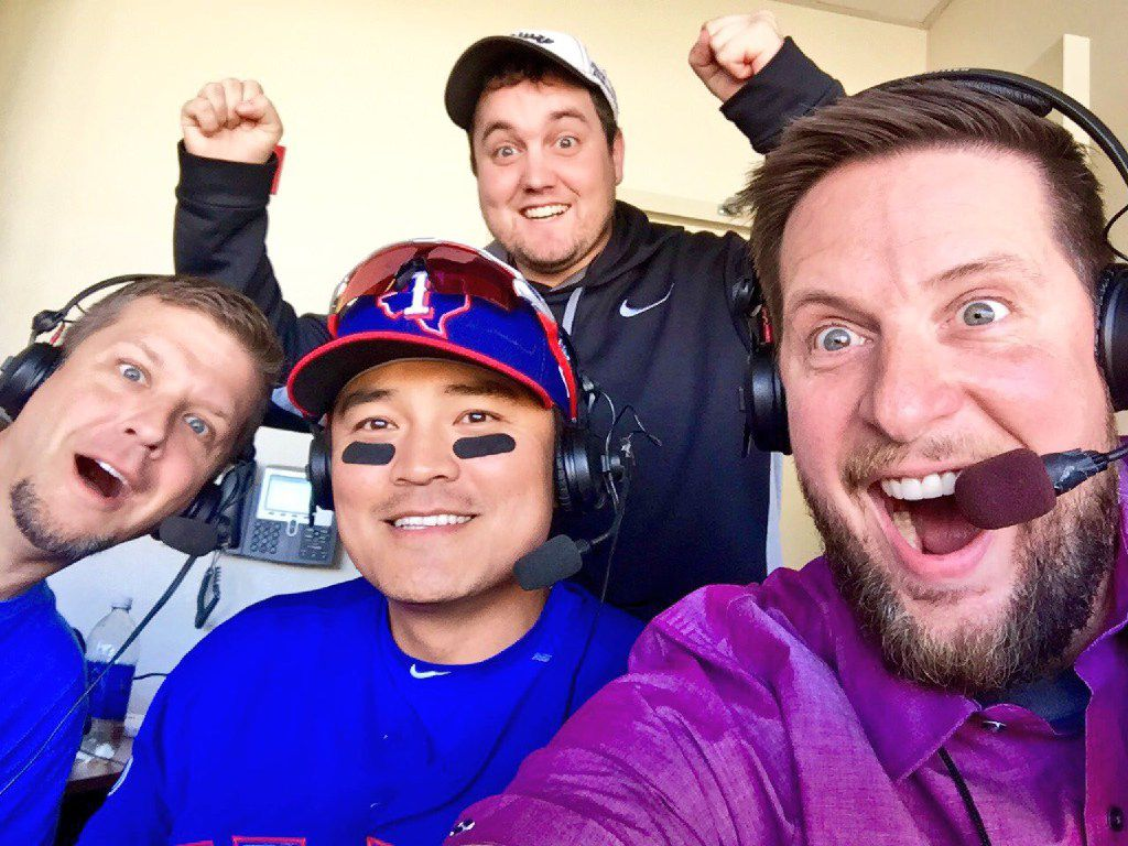 "105.3 The Fan personalities Jeff ""Skin"" Wade (from left), producer Kevin Turner and and Ben Rogers with Rangers outfielder Shin-Soo Choo"