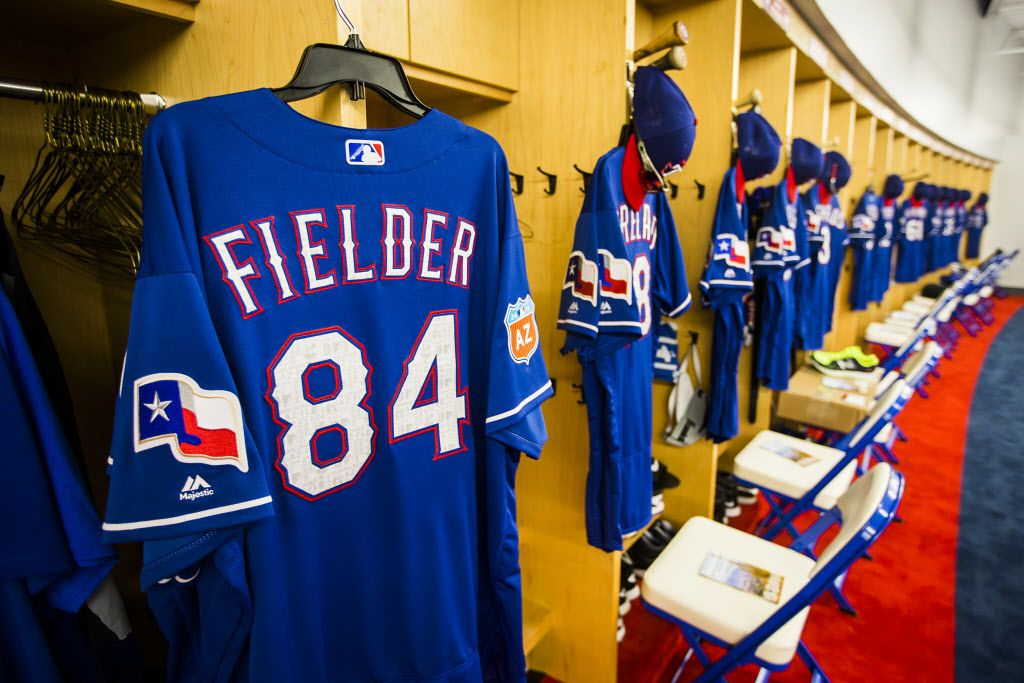 The jersey of first baseman/designated hitter Prince Fielder hangs at his locker in the clubhouse of the Texas Rangers newly renovated spring training facility during a media tour on Thursday, Feb. 18, 2016, in Surprise, Ariz. (Smiley N. Pool/The Dallas Morning News)