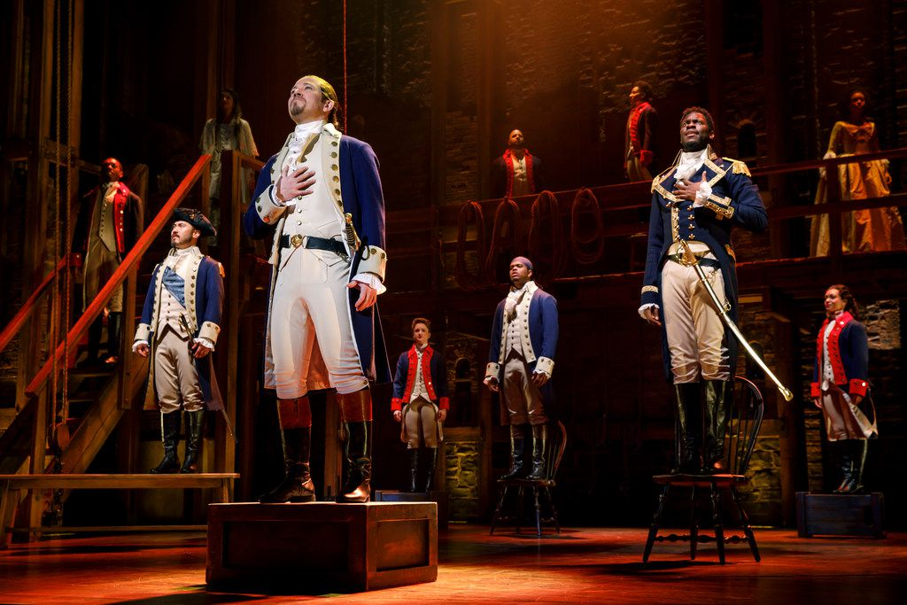 """Joseph Morales, foreground, played Alexander Hamilton in the national touring production of Lin-Manuel Miranda's blockbuster musical """"Hamilton"""" presented by Dallas Summer Musicals last spring."""