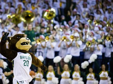 Baylor Bears mascot leads the crowd in a cheer during the second half of an NCAA men's basketball game between Baylor University and Kansas University on Saturday, February 22, 2020 at Ferrell Center on the Baylor University Campus in Waco. (Ashley Landis/The Dallas Morning News)
