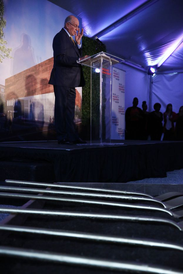 Frank Risch, a board member at the Dallas Holocaust Museum, pauses while speaking at the groundbreaking ceremony for the new Dallas Holocaust and Human Rights Museum in the West End of Dallas Tuesday October 10, 2017. The ceremony also honored local Dallas-Fort Worth Holocaust survivors. At 300 North Houston Street the new museum will be 51,000 square feet and set to open in the summer of 2019.