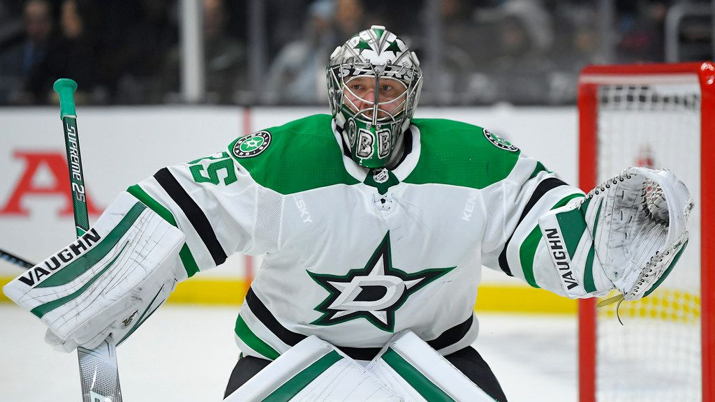 Dallas Stars goaltender Anton Khudobin stands at his goal during the second period of an NHL hockey game against the Los Angeles Kings Wednesday, Jan. 8, 2020, in Los Angeles. (AP Photo/Mark J. Terrill)