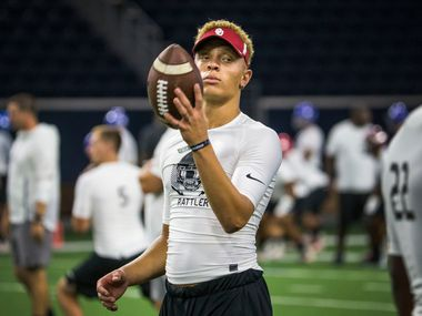 FILE - Quarterback recruit Spencer Rattler is pictured during the second day of The Opening at Ford Center at The Star in Frisco on July 1, 2018. The elite football camp, which spans three days, was in Frisco for the first time.