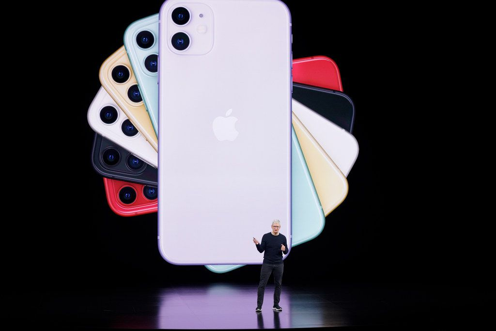 Apple CEO Tim Cook talks about the latest iPhone during an event to announce new products Tuesday, Sept. 10, 2019, in Cupertino, Calif.