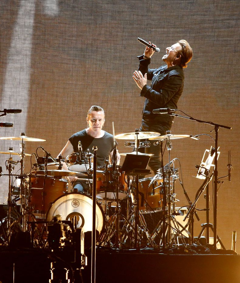 Bono (right) and Larry Mullen Jr. of U2 perform on stage at AT&T Stadium in Arlington, Texas, Friday, May 26, 2017. (Jae S. Lee/The Dallas Morning News)