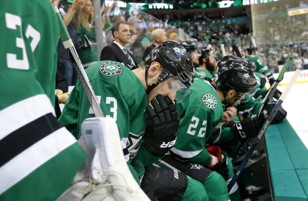 FILE - Stars right wing Valeri Nichushkin (43) is pictured on the bench as the final seconds tick away on a 6-1 loss to the St. Louis Blues in Game 7 of the Western Conference semifinals at American Airlines Center in Dallas on Wednesday, May 11, 2016. (Tom Fox/The Dallas Morning News)