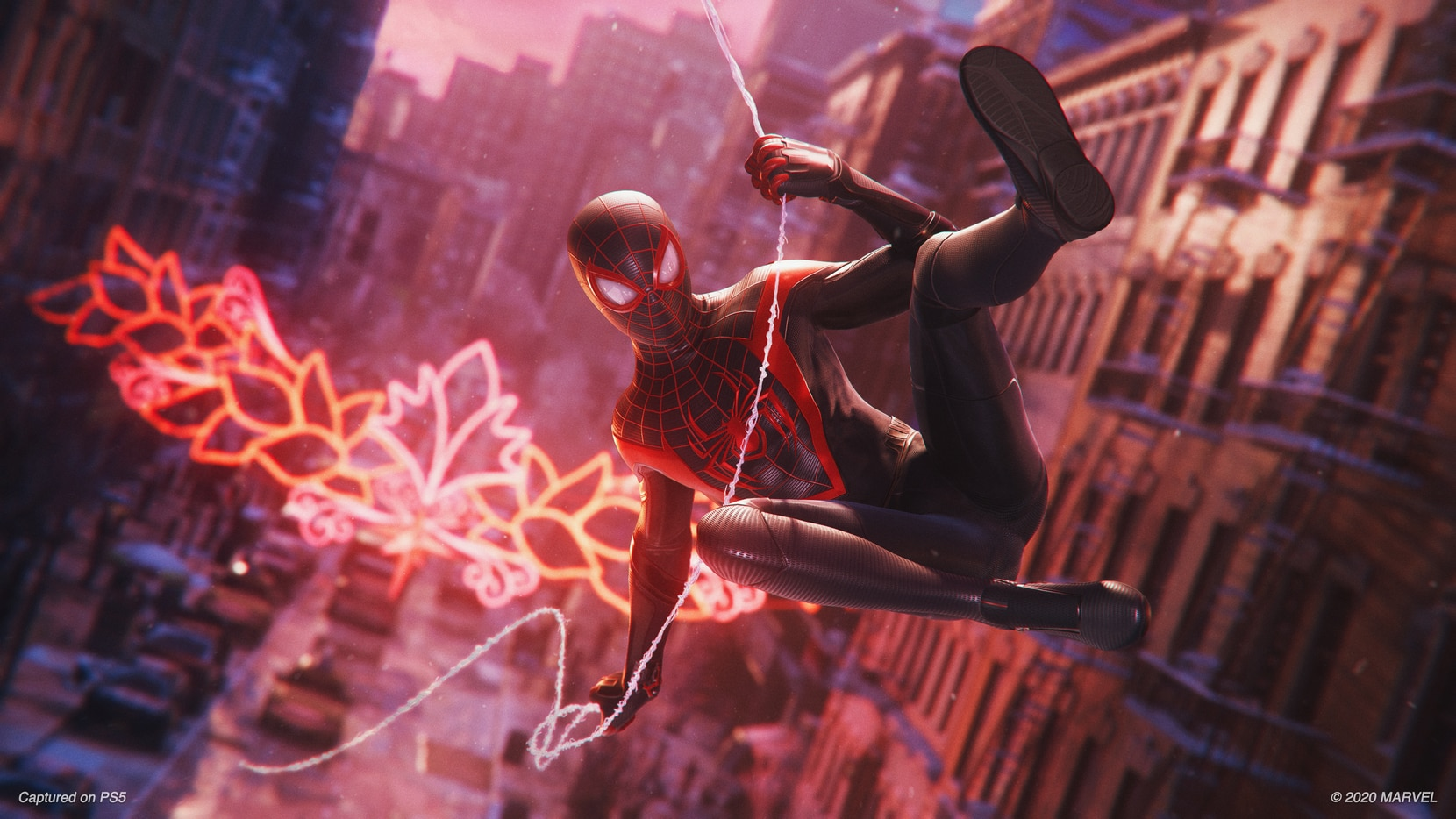"""A screenshot from """"Marvel's Spider-Man: Miles Morales"""" on the PlayStation 5."""