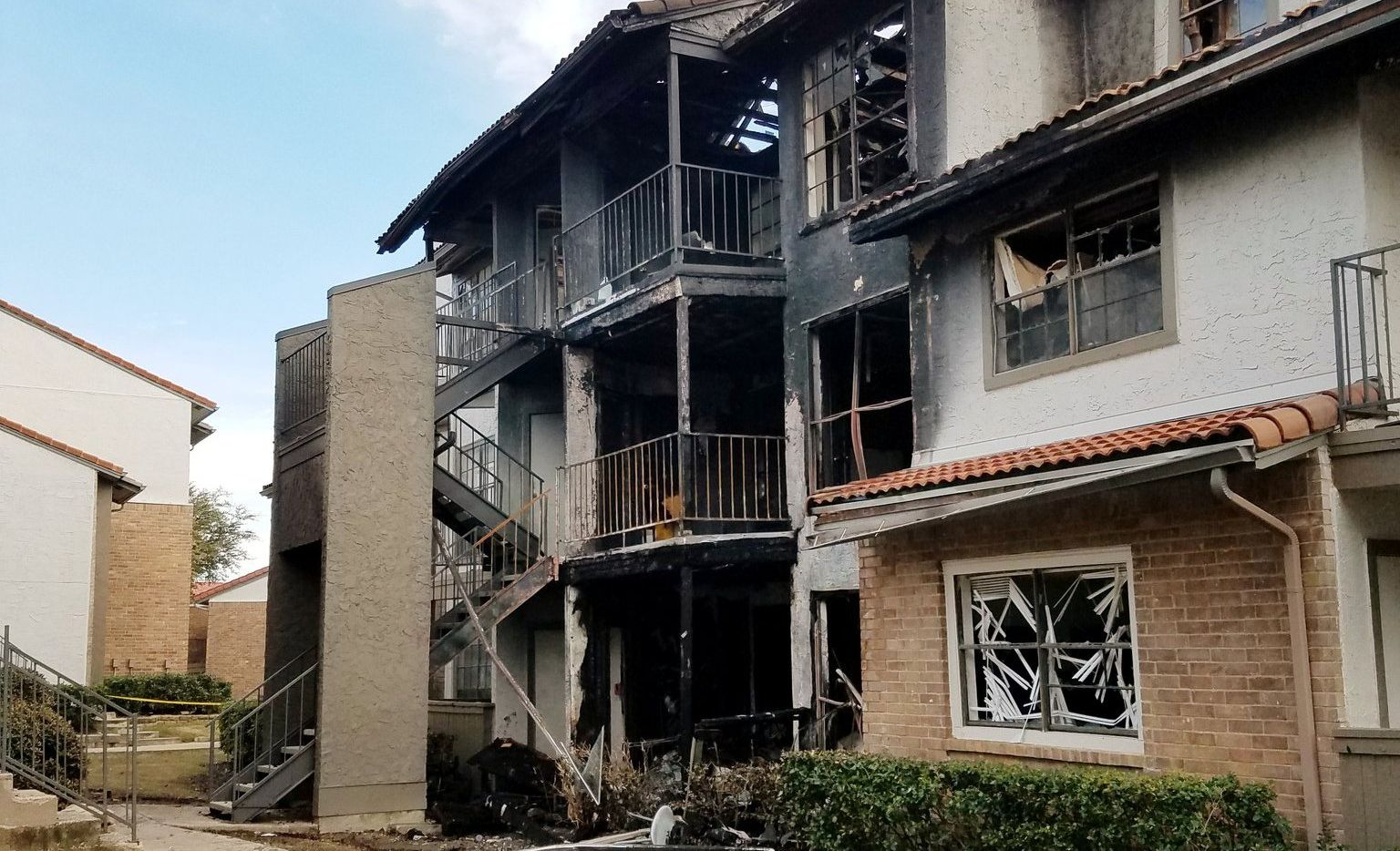 Ten units at the apartment complex in the 1200 block of N. Meadow Creek Drive in Irving were affected by a blaze Saturday, February 29, according to the Irving Fire Department.