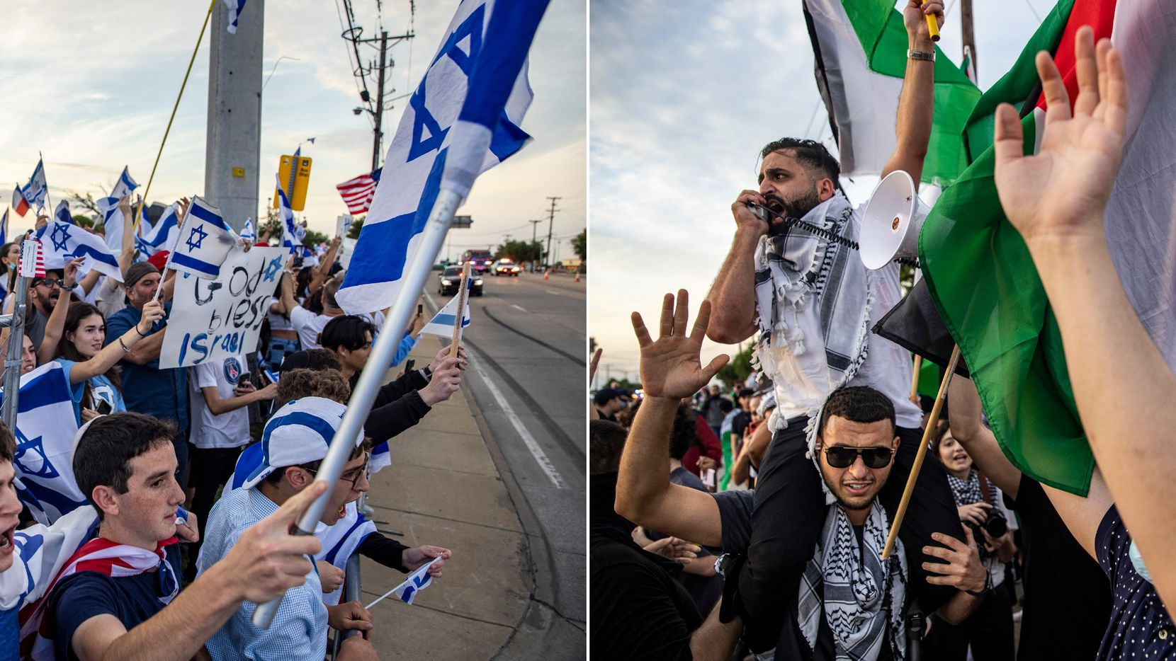 Hundreds of people supporting Israel, and hundreds more supporting Palestinians, demonstrated along Preston Road in Far North Dallas on Wednesday.