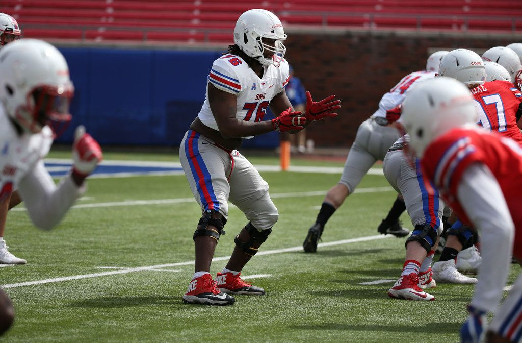Southern Methodist Mustangs offensive lineman Levon Livingston (76) lines up during Southern Methodist Mustangs's spring game at Gerald J. Ford Stadium on Saturday, April 14, 2018. (Rose Baca/The Dallas Morning News)