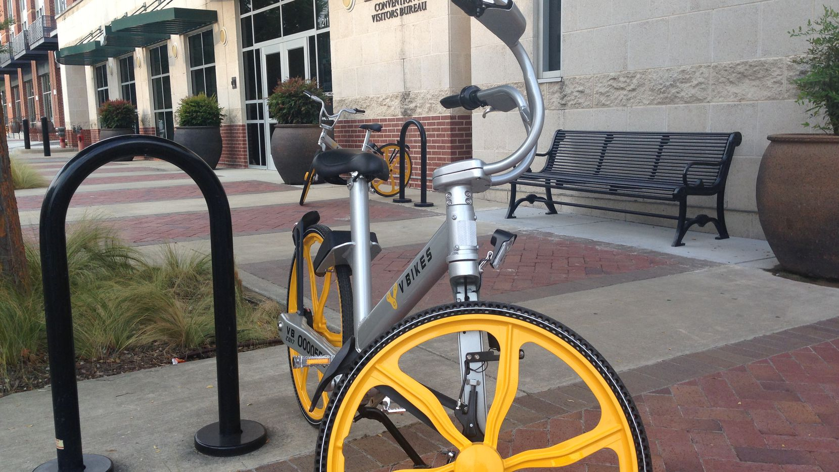 Garland is the latest city to promote bicycle sharing, using one its own companies, VBikes, as the vendor. Forty-five VBikes were deployed in downtown Garland this month.(Ray Leszcynski/Staff)