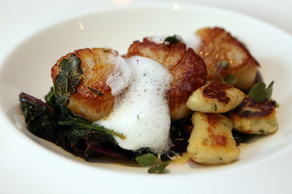 Scallops with ricotta gnocchi, rapini, sage, lemon and brown butter