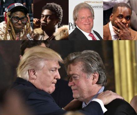 In addition to pardoning his former White House chief strategist Steve Bannon (bottom right), President Donald Trump issued late-hour clemencies to (top row, from left) rappers Lil Wayne and Kodak Black, GOP fundraiser Elliott Broidy and former Detroit Mayor Kwame Kilpatrick.