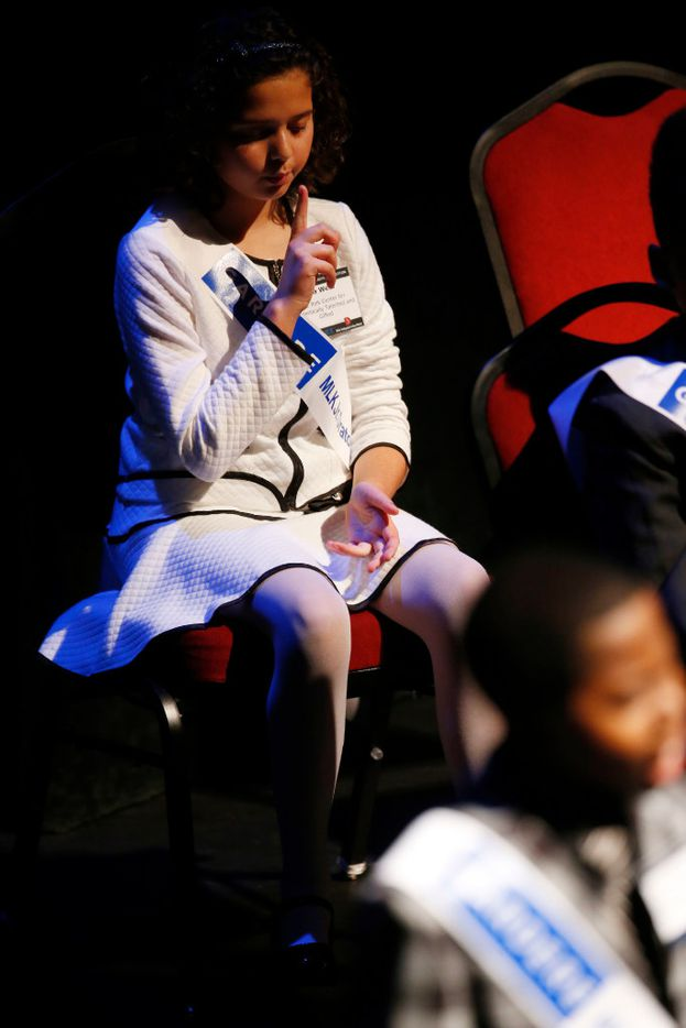 Lola West, a fifth grader at K.B. Polk Center for Academically Talented and Gifted, thinks to herself before giving her speech during the 25th Annual Gardere MLK Jr. Oratory Competition at the Majestic Theatre in Dallas on Friday, Jan. 13, 2017. (Rose Baca/The Dallas Morning News)