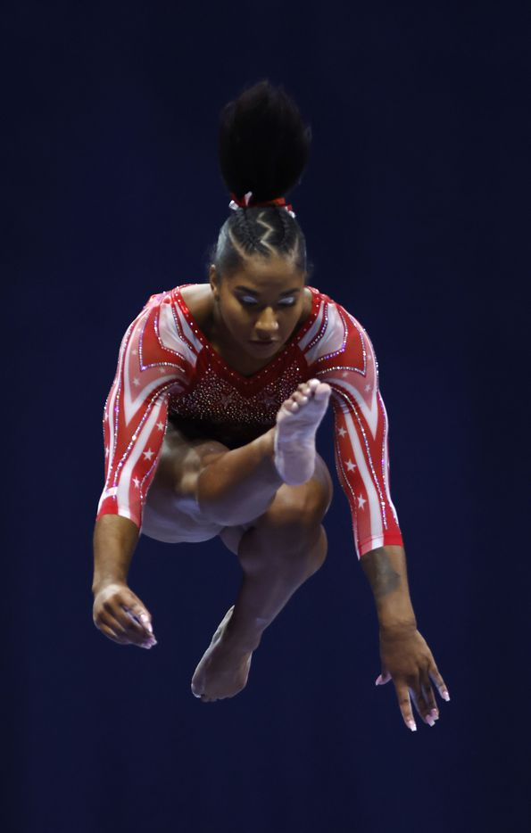 Jordan Chiles competes on the balance beam during day 2 of the women's 2021 U.S. Olympic Trials at The Dome at America's Center on Saturday, June 27, 2021 in St Louis, Missouri.(Vernon Bryant/The Dallas Morning News)